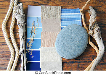 interior design color and upholstery planning concept of sea...