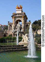 Barcelona - fountains in famous Parc de la Ciutadella....