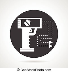 Stun gun black round vector icon - Flat black round vector...