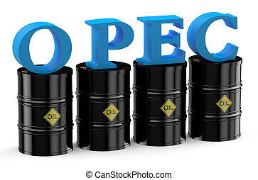 OPEC summit concept - OPEC concept isolated on white...