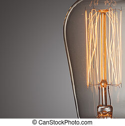 light bulb - Close up glowing vintage light bulb