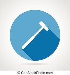 Reflex hammer flat round vector icon - Flat blue round...