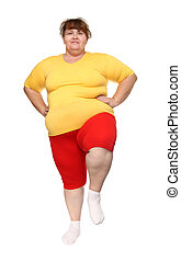 exercising overweight woman