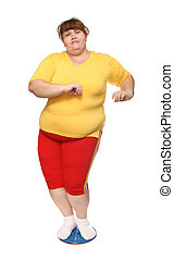 overweight woman on gymnastic disc isolated on white