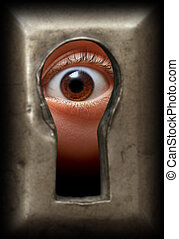 eye in keyhole - curiosity eye in keyhole - spy concept