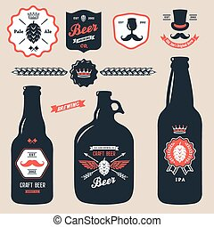 set of vintage craft beer bottles brewery badges - set of...