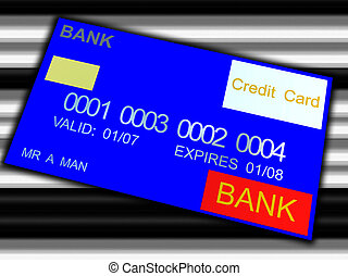 Bank Card - A credit card against a barcode like background.