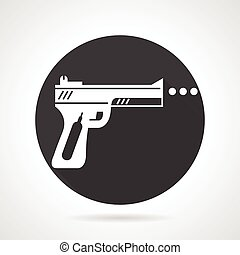 Airgun black round vector icon - Flat black round vector...