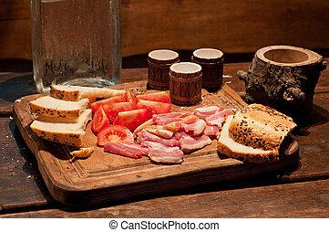 Bacon, tomato, bread and vodka - Bacon, tomato, bread and...