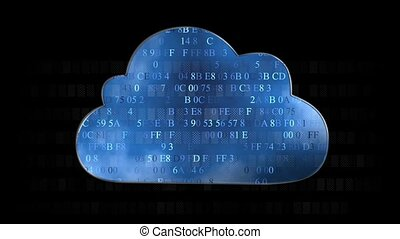 Cloud computing made with hex code concept Flow of...