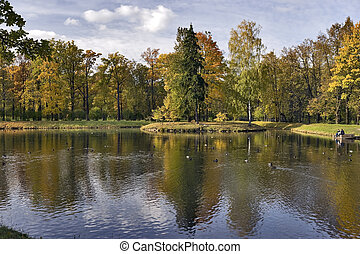 Beautiful scenery - Beautiful pond with colored trees in the...