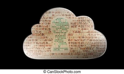 Cloud computing made with binary code concept Flow of...