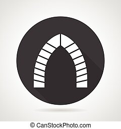 Archway black round vector icon - Flat black round vector...