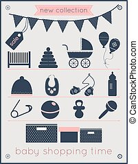 Baby Shopping Time Icons Set - baby shopping time icons set...