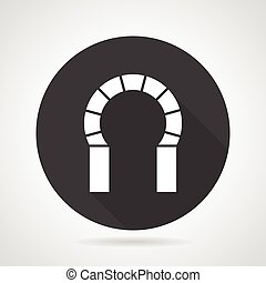 Horseshoe archway black round vector icon - Flat black round...
