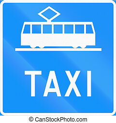 Tram And Taxi Lane in Finland - Road sign 543b in Finland -...