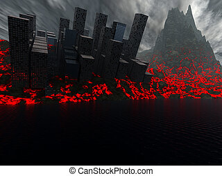 2012 Destruction Of City By Lava - A city being destroyed by...