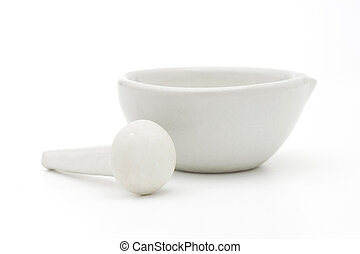 white mortar and pestle - White mortar and pestle over white...