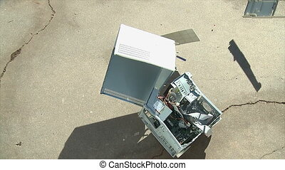 Computer Crash Fail - An old personal computer crashes onto...
