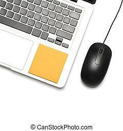 laptop and mouse with sticky note