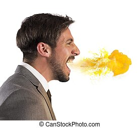 Businessman spits fire - Aggressive businessman spits fire...