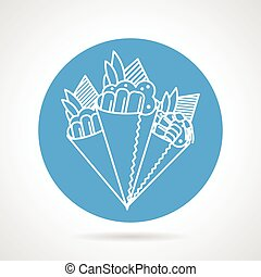 Temaki sushi blue vector icon - Blue round vector icon with...
