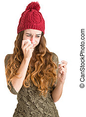 Sick Woman With Fever - Pale sick woman with a flu checking...