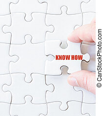 Missing jigsaw puzzle piece with words KNOW HOW Business...