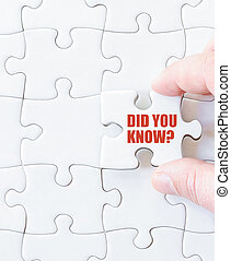 Missing jigsaw puzzle piece with words DID YOU KNOW Business...