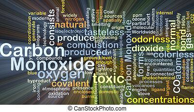 Carbon monoxide background concept glowing