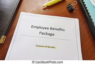 empregado, benefícios, pacote