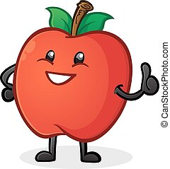 Apple Thumbs Up Cartoon Character - A happy smiling apple...