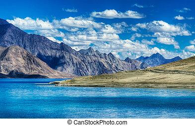 Mountains,Pangong tso (Lake),Leh Ladakh,Jammu and...