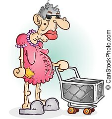 Grumpy Old Lady Cartoon Character - A grumpy old woman...