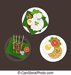 indonesian malaysian food nasi goreng lemak sate ayam