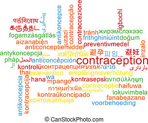 Contraception multilanguage wordcloud background concept -...