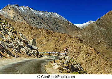 Road, Mountains of Leh, Ladakh, Jammu and Kashmir, India - A...