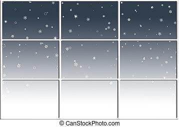 Wintry Weather - Falling snow outside window.