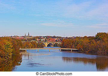 Fall colors of Potomac riverside - Washington DC panorama...