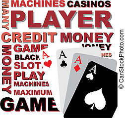 Poker background, vector graphics - Background, text and...