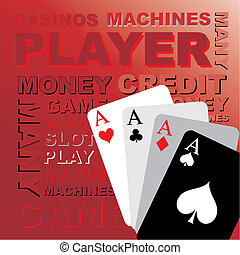 Poker cards, vector graphics - Background, text and cards,...