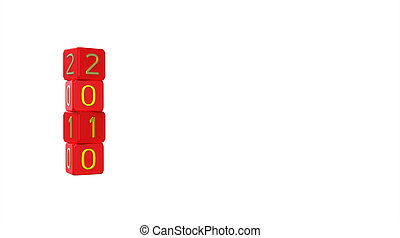 Happy New Year 2010, dice, 3d render, isolated on white
