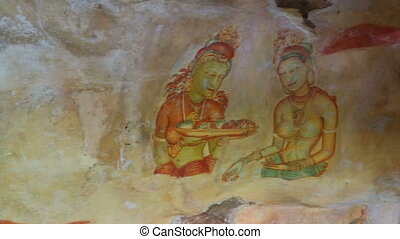frescoes at ancient rock fortress in Sri Lanka - SIGIRIYA,...