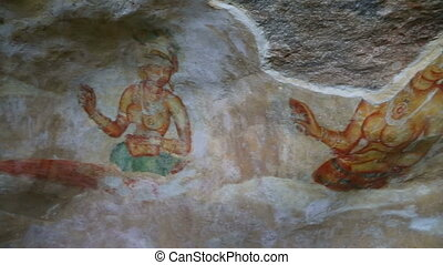 frescoes at ancient rock fortress in Sri Lanka