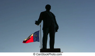Texas Flag And Statue Dallas Texas - Statue and Texas flag...