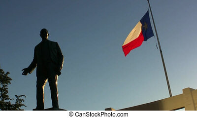 Texas Flag At Dealey Plaza Dallas T - Texas flag and statue...