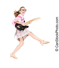 guitar girl - picture of funny girl in specs with electric...