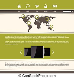 Classy website template design with green stripes