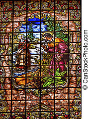 Stained Glass Peter Denial Basilica Santa Iglesia Collegiata...