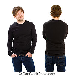 Young man wearing blank black long sleeve